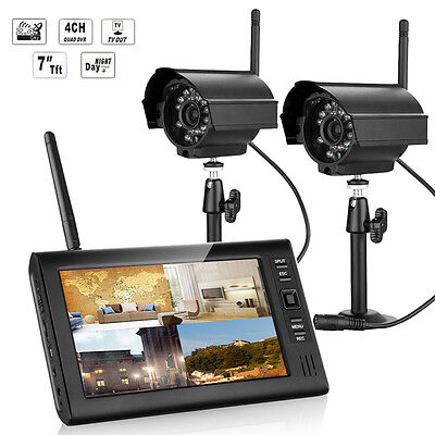 """2.4GHz 7"""" TFT LCD 4CH HD DVR Wireless In/Outdoor IR Cameras Home Security System"""