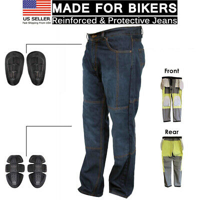 Blue Denim Motorcycle Pant (Motorcycle Motorbike Knee Armour Denim Trouser Pant Aramid Protective Lined Jean )