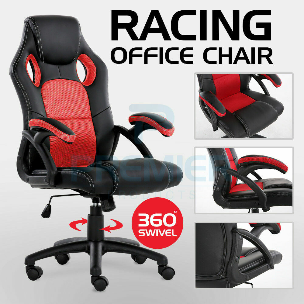 computer game - OFFICE CHAIR EXECUTIVE RACING GAMING SWIVEL PU LEATHER SPORT COMPUTER DESK