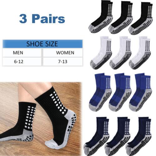 3pairs high tube sport anti slip socks