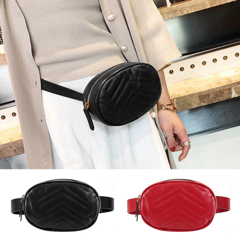 Women Indifferent PU Leather Waist Bag Chain Fanny Fanny Pack Travel Belt Purse
