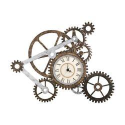 Industrial Wall Clock Vintage Large Metal Rustic Art Gears Steampunk Modern New