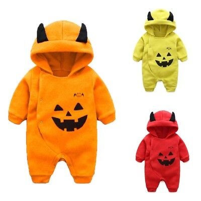 Baby Romper Devi Halloween Costumes For Boys Girls Clothes Snowsuit Hooded   - Halloween Costumes For Baby Boys