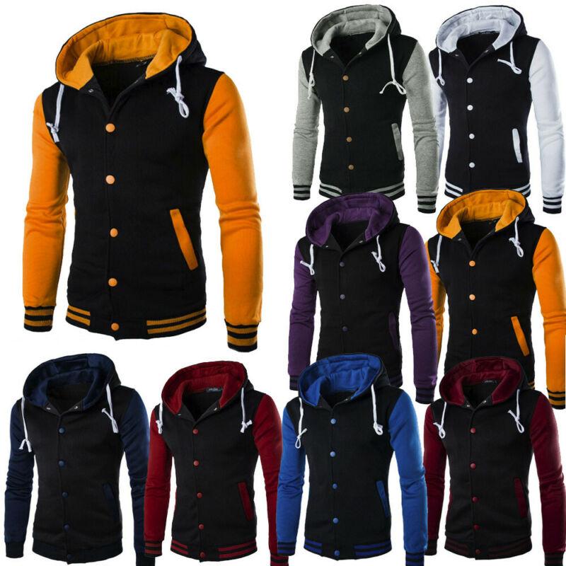 Men Coat Jacket Outwear Sweater Winter Slim Hoodie Warm Hood