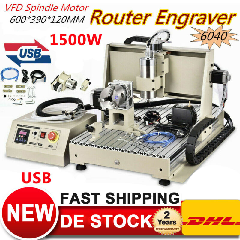 USB 1.5KW 4 Axis 6040 CNC Router Engraver Carving Machine Metal Cutter EU Stock