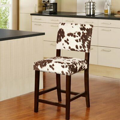 Rustic Country Counter Height Chair Stool Dining Pub Seat Upholstered -