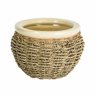 Ivyline Seagrass Wicker Stoneware Indoor Home Planter Plant Pot in Natural 13cm