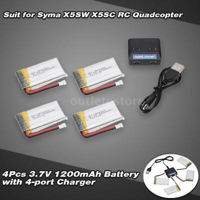 4 in 1 Charger Set with 4pcs 3.7V 1200mAh Li-po Battery for Syma X5SW X5SC K7W0