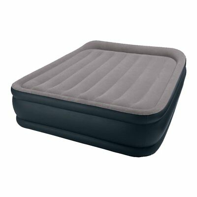Intex Deluxe Raised Pillow Rest Air Mattress Bed with Built-In Air Pump, Queen