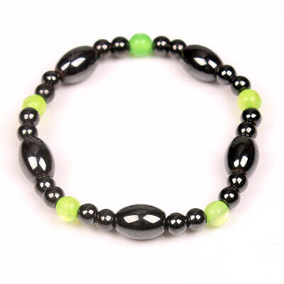 Natural Green Cat Eye Hematite Stone Bead Bracelets Handmade Stretchy Cat Eye Hematite Bracelet