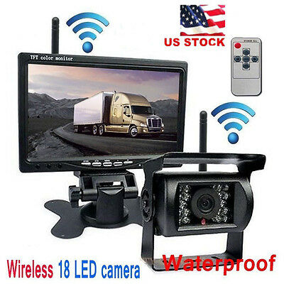 Wireless Ir Rear View Back Up Camera Night Vision System 7  Monitor For Rv Truck