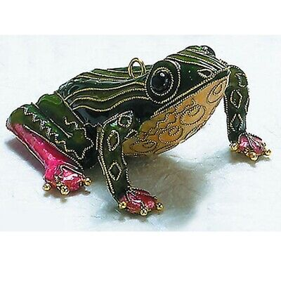 Green Striped Frog Cloisonne Metal Christmas Tree Ornament Decoration New