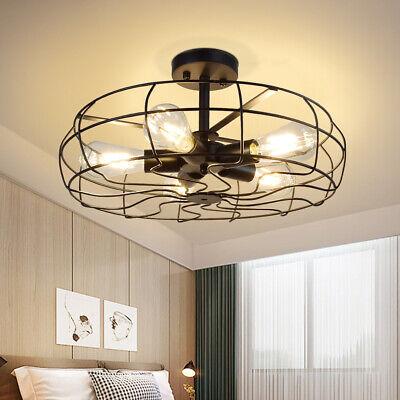 Vintage Industrial Ceiling Light Chandelier Pendant Lamp Fixture Metal Cage Room