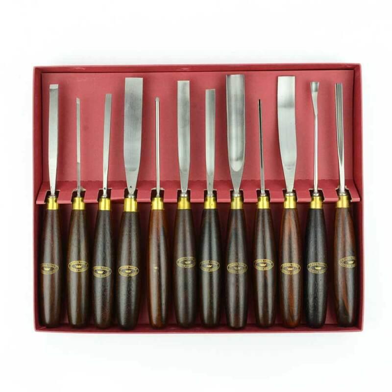 Crown Tools 2241 / Big Horn 22410 12 Pieces Woodcarving Set - Wood Box