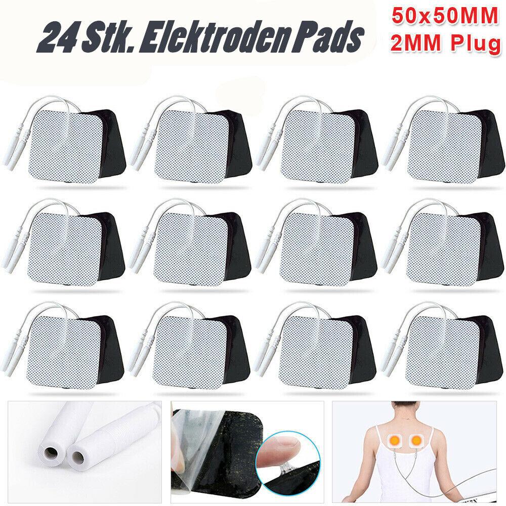 24 Stk. TENS Elektroden Pads Selbstklebend für Massage EMS Reizstrom Gerät 5x5cm
