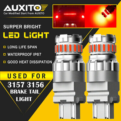 AUXITO 3157 Red LED Strobe Flashing Blinking Brake Tail Light/Parking Bulbs 2F3