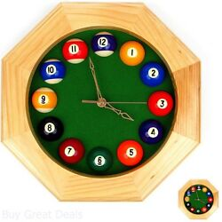 12In Octagonal Billiards Pool Game Room Modern Wall Clock Home Decor Art, New