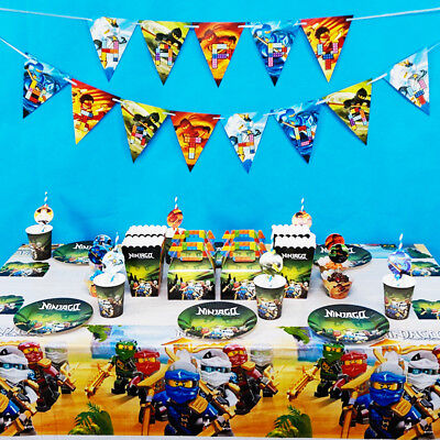 Ninjago Theme Birthday Party Decoration Tableware Range (Plates Cups Banner etc)](Ninjago Party Supplies)
