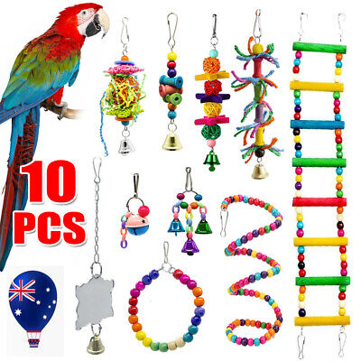 10X Parrot Toys Metal Rope Small Ladder Stand Budgie Cockatiel Cage Bird Toy Set