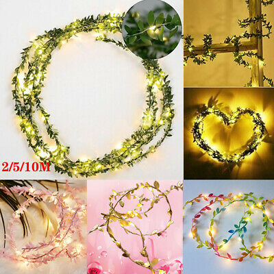 LED Artificial Ivy Wire Green Leaf String Light Fairy Lights Wedding Party Decor