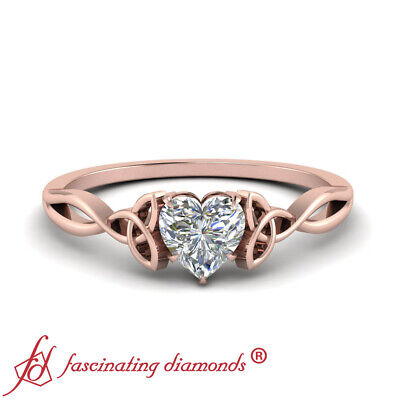 3/4 Carat Heart Shaped Diamond Solitaire Celtic Design Rose Gold Engagement Ring