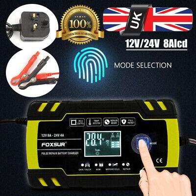 UK Automatic Intelligent Smart Car Battery Charger Pulse Repair Starter 12V/24V