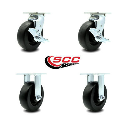 Scc 6 X 2 Polyolefin Wheel Swivel Caster Set Of 4 - 2 Swivel Wbrakes2 Rigid