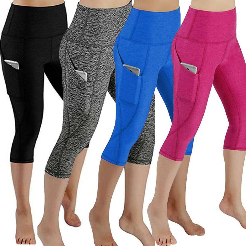 Womens Capri YOGA Pants Pockets Run Gym Sport Fitness Cropped Leggings Workout 4