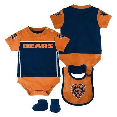 "Chicago Bears NFL Infant Blue ""Lil Jersey"" Creeper, Bib & Bootie Set"