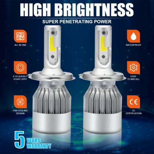 9006 HB4 1900W 285000LM COB LED Headlight Kit Light Bulb 6000K White High Power