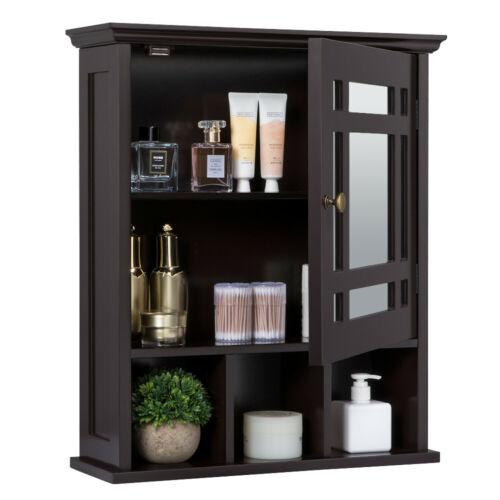 Wall mount Storage Bath Cabinet Medicine Organizer Glass Doo
