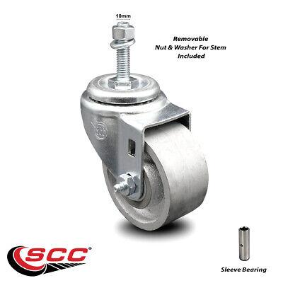 Semi Steel Swivel Threaded Stem Caster - 3 Wheel 10mm Stem