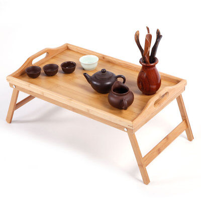 Bamboo Wood Bed Tray Breakfast Laptop Desk Tea Serving Table Stand Dinner (Wood Bed Tray)