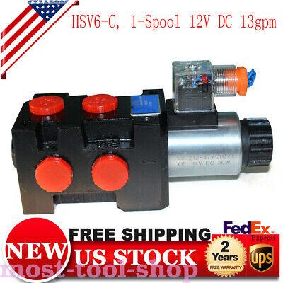 Hydraulic 6 Port Solenoid Diverter Selector Valve Hsv6-c 1-spool 12v Dc 13gpm