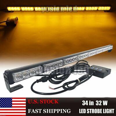 34 Led Emergency Strobe Warning Light Bar Vehicles Directional Arrow Amber 32 W