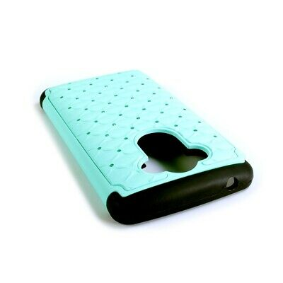 For Motorola Droid Turbo Case - Teal/Black Hybrid Diamond Bling Skin Phone Cover