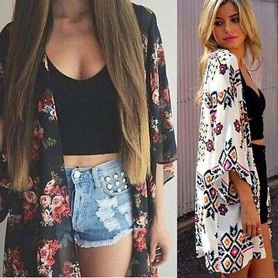 Women Floral Printed Chiffon Blouse Kimono Cardigan Shawl Loose Top Shirt