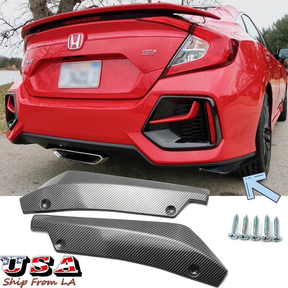 Carbon Fiber Look Rear Bumper Lip Diffuser Splitter Canard Protector Accessories