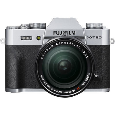 Fujifilm X-T20 Mirrorless Digital Camera with 18-55mm Lens Silver ZX