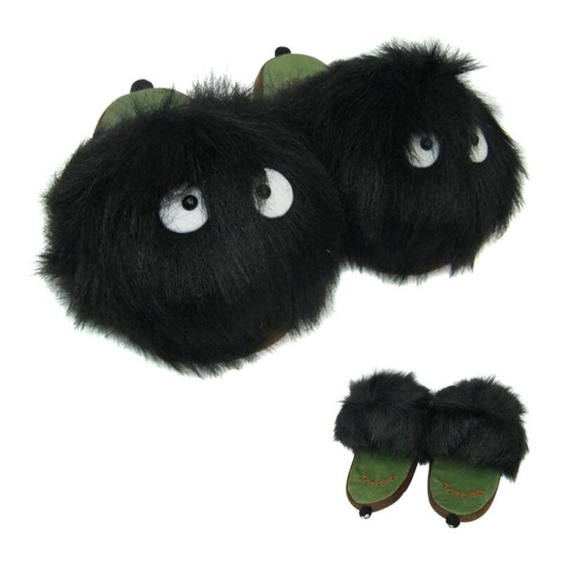 Anime My Neighbor Totoro Ghibli Adult Plush Slipper Black Dust Bunny Slippers