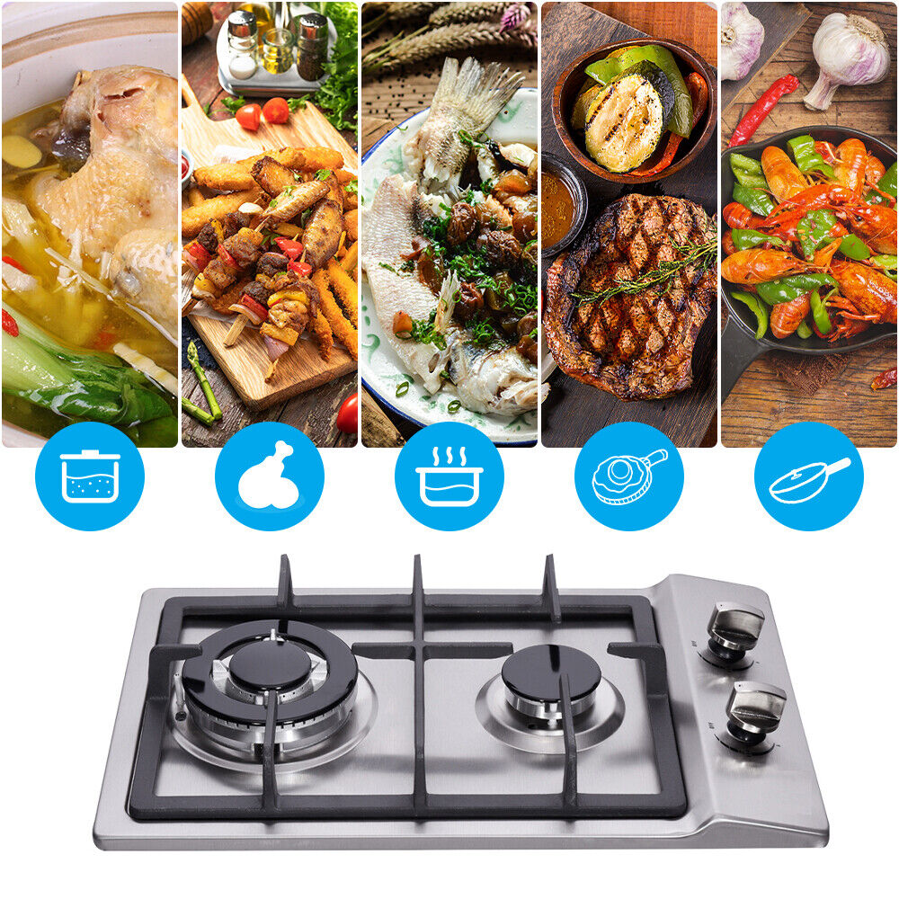 """12"""" Gas Cooktop 2 Burners Drop-in Propane/natural Gas Cooker"""