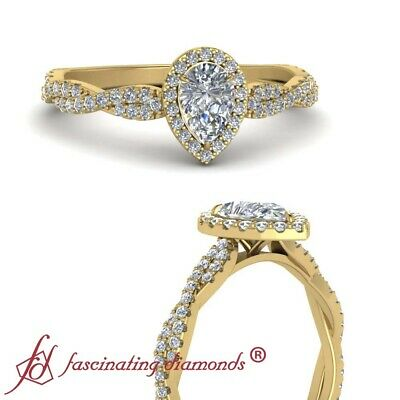 Yellow Gold Twisted Halo Engagement Ring With Center Pear Shape Diamond 0.75 Ctw
