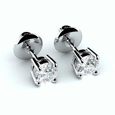 Offer!!!! 0.50 (1/2) Carat Round Diamond Screw Back Stud Earring 18k White Gold