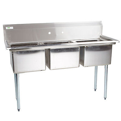 54 Nsf Stainless Steel 3 Compartment Commercial Pot Sink Without Drainboards