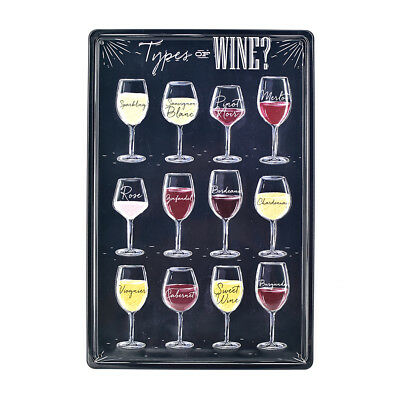Types of Wine Poster Vintage Metal Tin Signs Pub Bar Art Wall Decor Plate](Types Of Decoration)