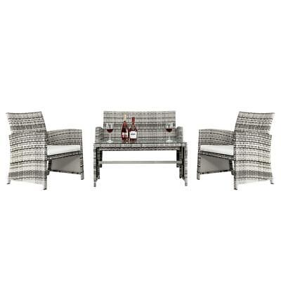 Garden Furniture - 4PC Rattan Wicker Patio Furniture Set Sofa Chair +Table Cushioned Garden Outdoor