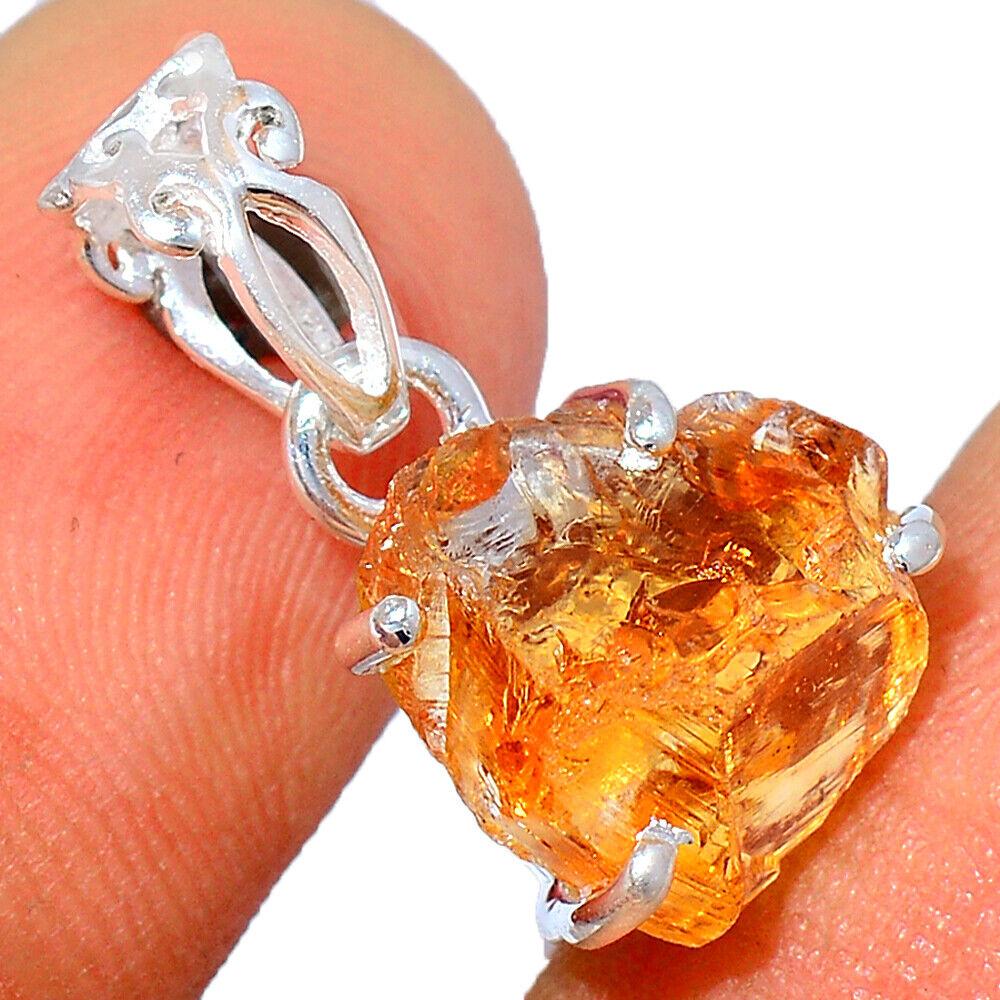 AAA Mandarin Citrine Rough, Brazil 925 Sterling Silver Pendant Jewelry BP54805 - $8.99