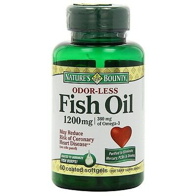 Nature's Bounty Omega-3 Fish Oil 1200 mg Softgels Odorless 60 Soft Gels