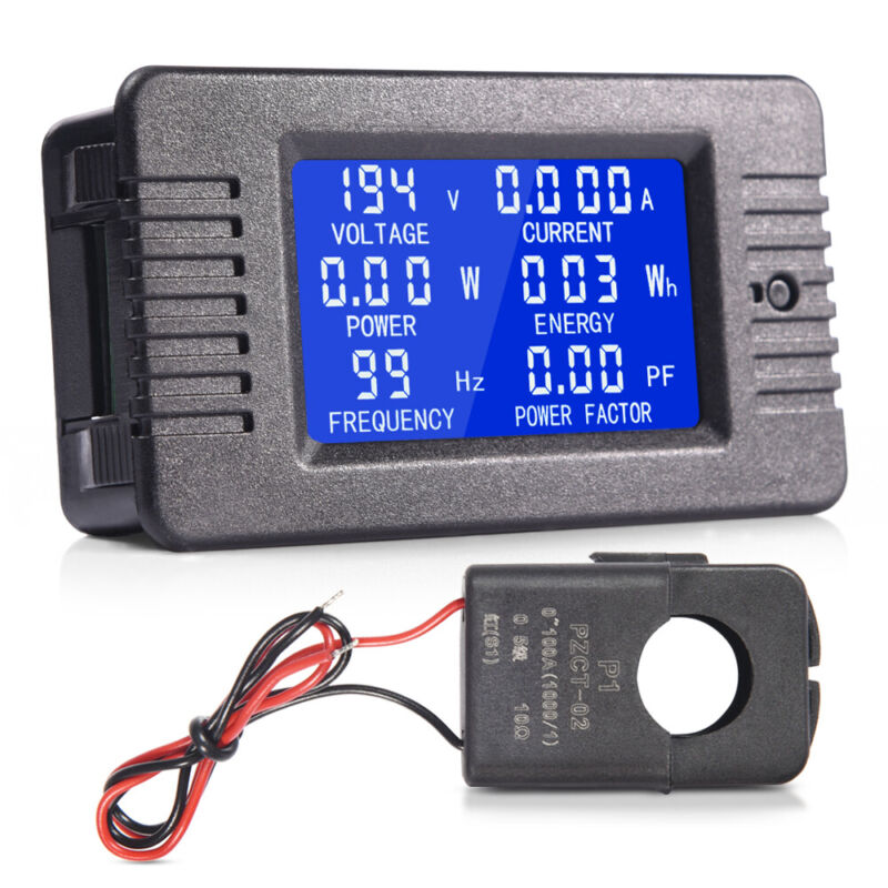 80-260V 100A LCD Display AC Volt Meter Amp Multi-meter Power Monitor Panel Kit