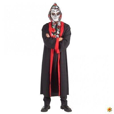 Totenkopf Tunika mit Mantel L/XL Halloween Tag der Toten La Catrina Kostüm